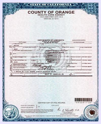 Свидетельство о рождении в США Birth Certificate